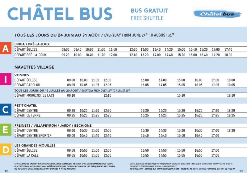 bus hours | campsite l'oustalet | Châtel | summer