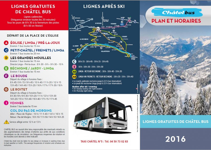 Bus hours | campsite l'Oustalet | Châtel | winter 2016/2017